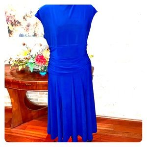 Flattering royal blue dress with ruching